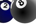 Blue two billiard ball and black eight ball billiard Royalty Free Stock Photo