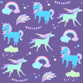 stock image of  Blue unicorn on purple background with flags and fireworks.