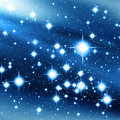 Blue universe with bright stars Stock Images