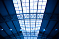 Blue unusual geometric ceiling Royalty Free Stock Photography