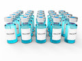 Blue vaccine bottles on white background Stock Photo