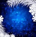 Blue Vector Christmas background with silver snowflakes,and silv Royalty Free Stock Photo