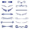 Blue Vector decorative monograms and calligraphic borders. Template signage, logo, label, sticker. Classic design element wedding