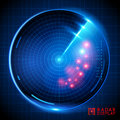 Blue vector radar display a illustration Royalty Free Stock Photography