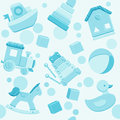Blue vector seamless pattern with baby toys