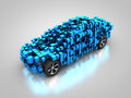 Blue vehicle with abstract carbody