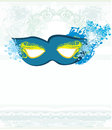 Blue venetian carnival mask vector Stock Photo