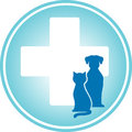 Blue veterinary symbol with cross and pets Royalty Free Stock Image