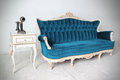 Blue vintage luxury armchair antique Royalty Free Stock Images