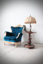 Blue vintage luxury armchair antique Stock Photos