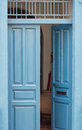 Blue vintage open door Royalty Free Stock Photo