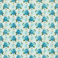 Blue Vintage retro rose floral background repeating pattern