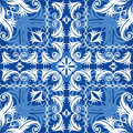 Blue vintage seamless background with pattern Royalty Free Stock Image