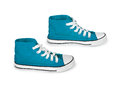 Blue vintage sneakers on white background Royalty Free Stock Photo