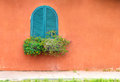 Blue vintage window with wooden flower box on orange wall the Stock Photography