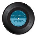 Blue vinyl record with the text stereo isolated on a white background Stock Image