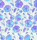 Blue and violet flowers  pattern Royalty Free Stock Images