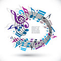Blue and violet music background with clef and notes.