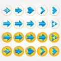 Blue volumetric arrows. Arrow sign icon set. Stock Photos