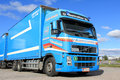 Blue volvo fh long haulage truck turku finland – september at depot in november trucks were delivered an increase of Royalty Free Stock Photography
