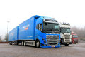 Blue volvo fh truck salo finland november parked on november in salo finland wins international of the year which Royalty Free Stock Image