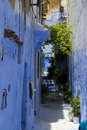 Blue walls of Chefchaouen in Morocco Stock Photos