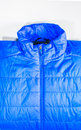 Blue warm insulated texture of jacket warm light weight insulate on white background ready for product display montage Stock Image