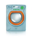 Blue washing machine toy with reflection on white background Stock Image