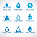 Blue Water drop logo vector set design Royalty Free Stock Photo