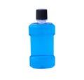 Blue water of mouthwash bottle isolate Royalty Free Stock Photo