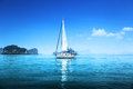 Blue water ocean yacht and Stock Photo