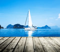 Blue water ocean yacht and Royalty Free Stock Image