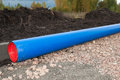 Blue water pipeline Royalty Free Stock Photos