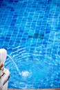 Blue water pool with statue decoration Royalty Free Stock Photo