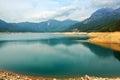 The blue water of shek pik lake photo was taken in lantau south country park hongkong china Stock Photo