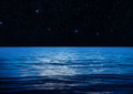 Blue water space ocean surface at night Royalty Free Stock Photos
