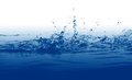 Blue water splash background bubbles droplets Royalty Free Stock Image