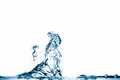 Blue water splash on white background of in an abstract form Royalty Free Stock Photos