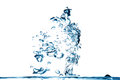 Blue water splash on white background of in an abstract form Stock Image