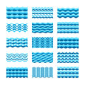 Blue water wave vector tiles set for seamless patterns and textures Royalty Free Stock Photo