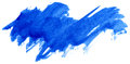 Blue watercolor abstract paint stroke on white background Stock Image