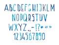 Blue watercolor aquarelle font type handwritten