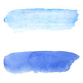 Blue watercolor background. Brush stroke on paper texture.