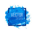Blue Watercolor Blot In Square Frame Royalty Free Stock Photo