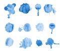 Blue watercolor blots isolated on white background. splash, splatter illustration Royalty Free Stock Photo