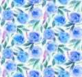 Blue watercolor flowers pattern. Teal floral