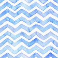 Blue watercolor seamless pattern with blue zigzag stripes, hand drawn with imperfections and water splashes. Square weave design, Royalty Free Stock Photo