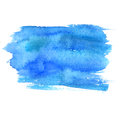 Blue watercolor stain isolated on white background. Artistic paint texture