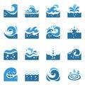 Blue Wave Icons Set Royalty Free Stock Photo