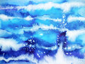 Blue wave minimal watercolor painting hand drawn japanese style Royalty Free Stock Photo